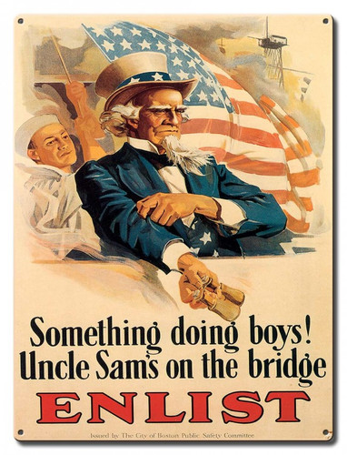 Uncle Sam Enlist Metal Sign 12 x 16 Inches