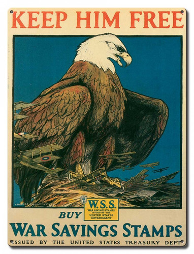 Eagle War Saving Stamps Metal Sign 12 x 16 Inches