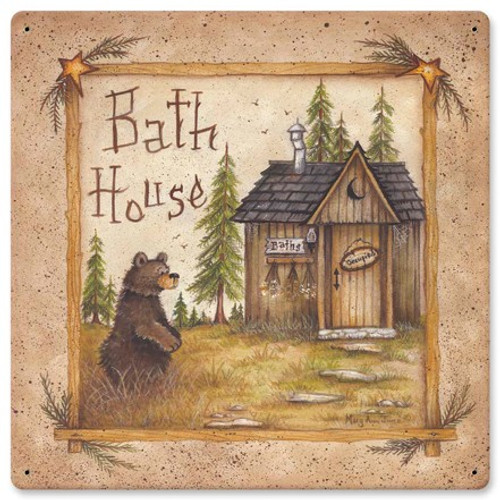 Bath House Bear Metal Sign 12 x 12 Inches