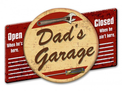 Dad's Garage Metal Sign 22 x 15 Inches