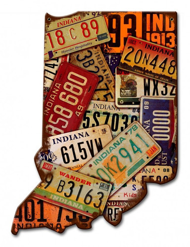 Indiana License Plates Metal Sign 10 x 13 Inches