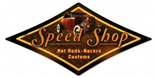Speed Shop Metal Sign 28 x 14 Inches