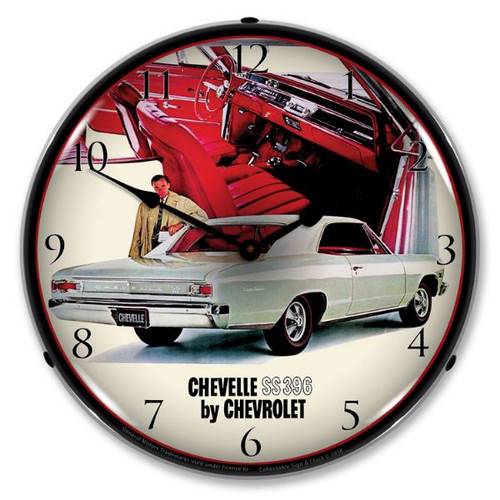 1966 Chevelle SS 396 RI Lighted Wall Clock 14 x 14 Inches