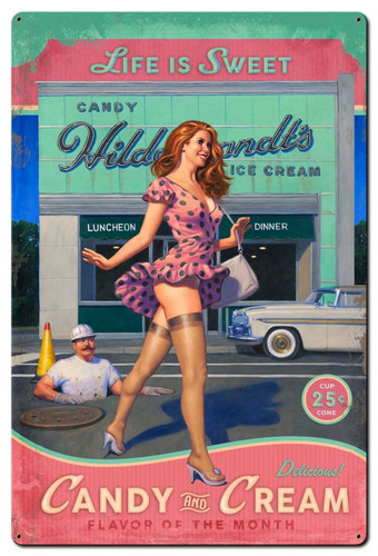 Candy and Cream Metal Sign 24 x 36 Inches