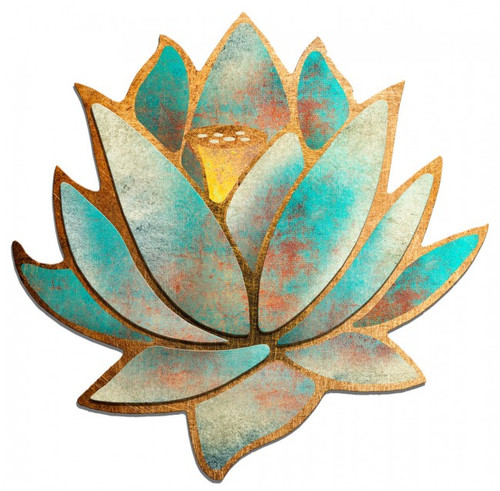 3D Blue Lotus Flower Metal Sign 36 x 36 Inches