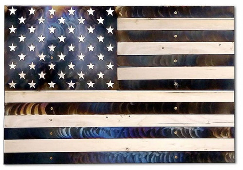 USA Vertical Flag Burnt Metal on Wood Sign 48 x 36 Inches