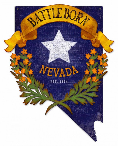 3-D Battle Born Nevada State Cutout Metal Sign 18 x 22 Inches