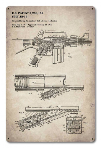 AR-15 Patent Metal Sign 12 x 18 Inches