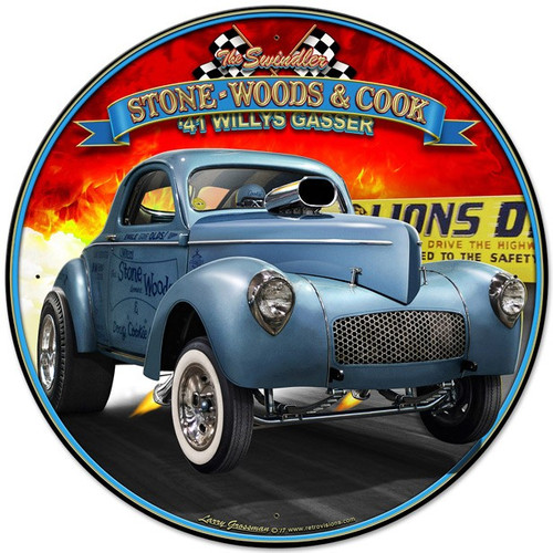 1941 S.W.C. Willys Gasser Metal Sign 28 x 28 inches