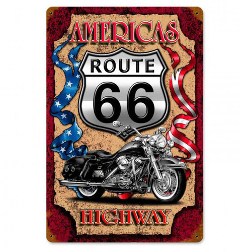 America Highway Metal Sign 12 x 18 Inches