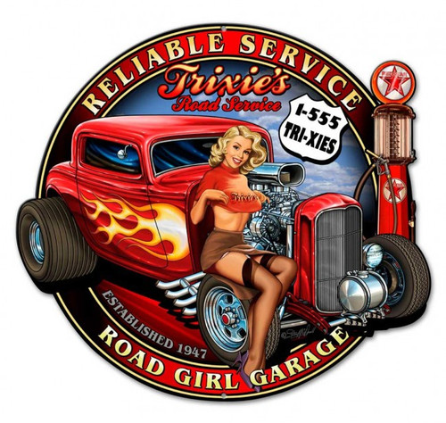 Trixies Rod Pinup Metal Sign 18 x 16 Inches