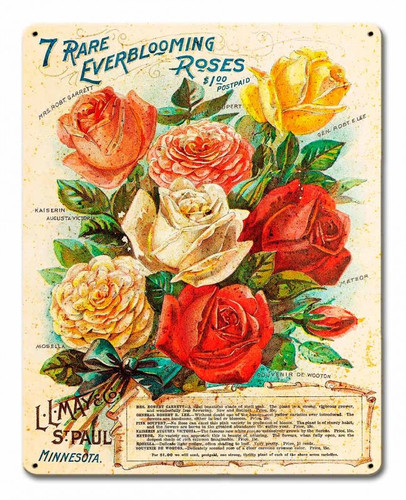 Vintage Roses Metal Sign 12 x 15 Inches