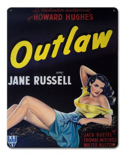Howard Hughes Outlaw Metal Sign 12 x 15 Inches