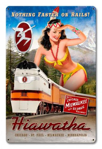 Hiawatha Train Pinup Girl Train Sign 18 x 12 Inches