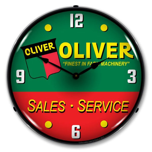 Oliver Tractor Sales & Service Lighted Wall Clock 14 x 14 Inches