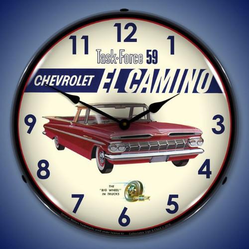 1959 El Camino Lighted Wall Clock 14 x 14 Inches