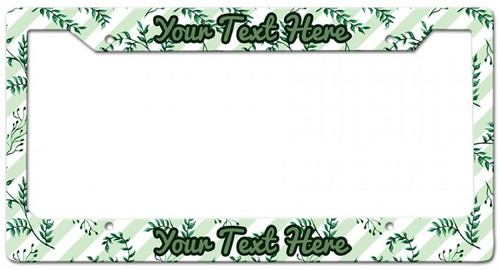 Plants Stripes Personalized License Frame 12 x 6 Inches