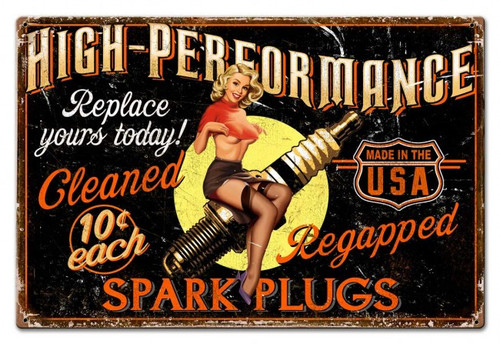 Girl Spark Plug Metal Sign 30 x 20 Inches
