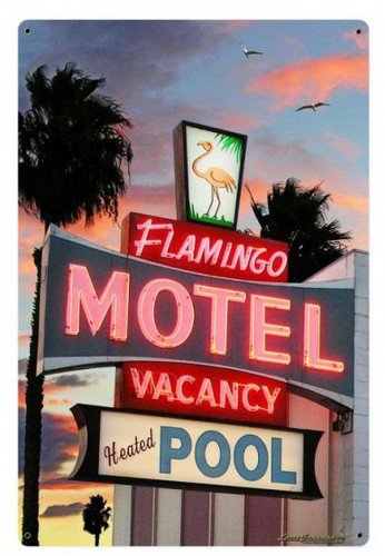 Flamingo Motel Metal Sign 24 x 36 Inches