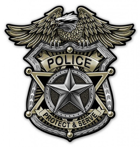 Police Badge Metal Sign 18 x 18 Inches