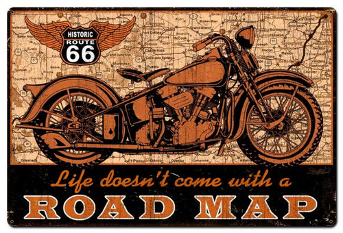 Road Map Bike Metal Sign 36 x 24 Inches