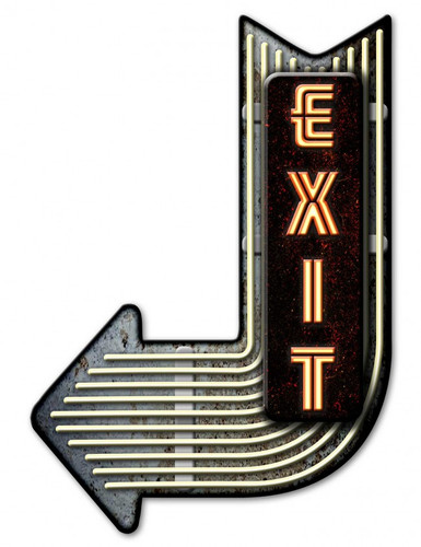 Exit Left Arrow 3-D Metal Sign 17 x 25 Inches