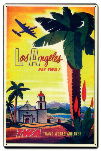 Los Angeles TWA Metal Sign 16 x 24 Inches