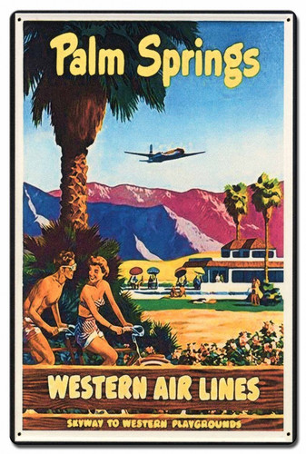 Palm Springs Western Airlines Metal Sign 16 x 24 Inches