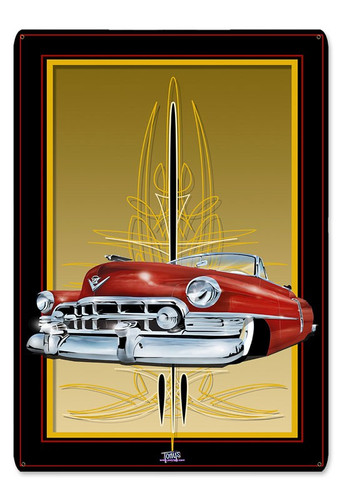 50 Cadi Red Metal Sign 12 x 18 Inches