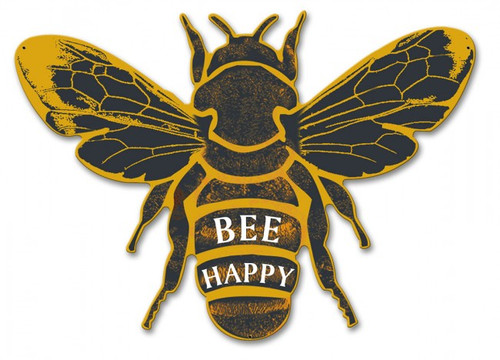Bee Happy Metal Sign 18 x 13 Inches