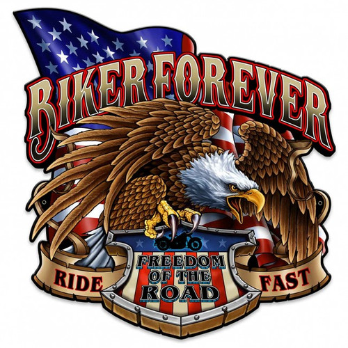 Biker Forever Eagle Metal Sign 18 x 18 Inches