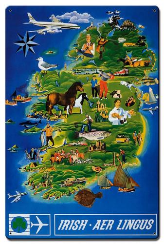 Irish Aer Lingus Metal Sign 16 x 24 Inches