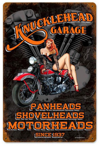 Knuckle Garage Pinup Metal Sign 12 x 18 Inches