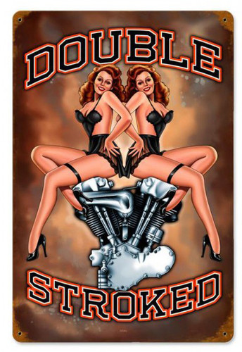 Double Stroked Pinup Metal Sign 12 x 18 Inches