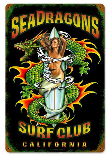 Sea Dragons Surf Club Metal Sign 12 x 18 Inches