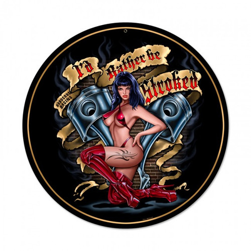Stroked Pinup Metal Sign 14 x 14 Inches