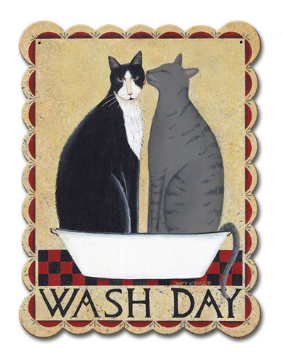 Wash Day Cats Metal Sign 12 x 15 Inches