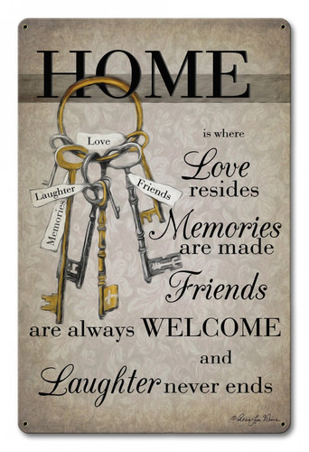 Home Is Where Metal Sign 12 x 18 Inches