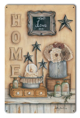 Home Love Metal Sign 12 x 18 Inches
