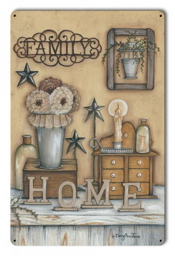 Family Home Metal Sign 12 x 18 Inches