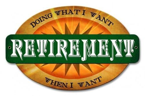 Retirement Doing What I Want Metal Sign 18 x 12 Inches