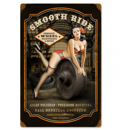 Smooth Ride Pinup Metal Sign 12 x 18 Inches