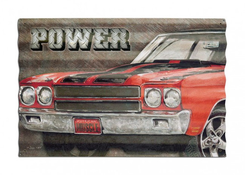 Power Muscle Car Corrugated Metal Sign 24 x 16 Inches