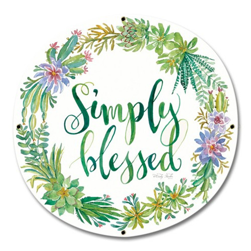 Simply Blessed Metal Sign 16 x 16 Inches
