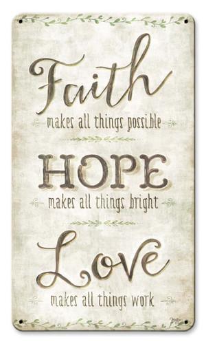 Faith Hope Love Metal Sign 8 x 14 Inches