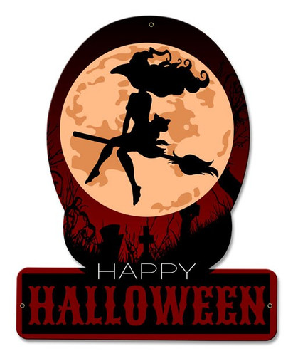 Halloween Witch Metal Sign 12 x 15 Inches