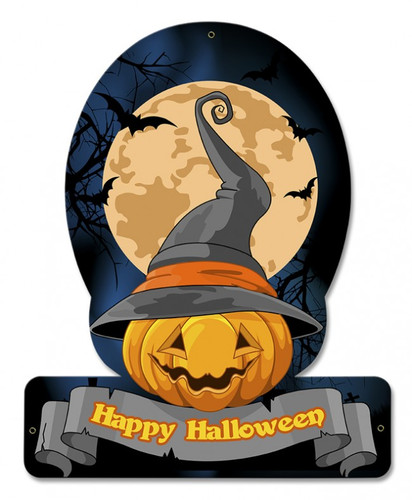 Halloween Pumpkin Witch Metal Sign 12 x 15 Inches