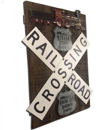Train Crossroad Railway Set  On Wood Metal Sign 18 x 26 Inches