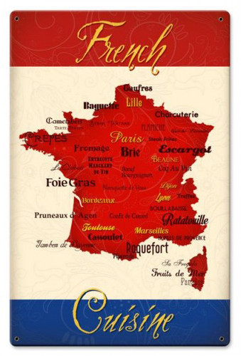 French Cuisine Metal Sign 12 x 18 Inches