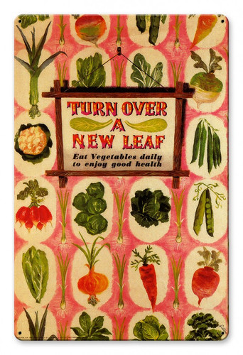 Turn Over A New Leaf Metal Sign 12 x 18 Inches